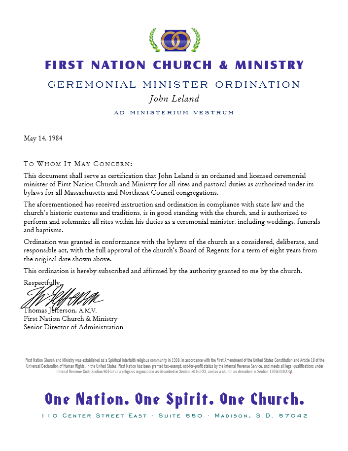 Wedding Officiant and Ceremonial Minister Ordination Documents ...