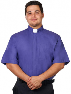 Men's Purple Tab Collar Clergy Shirt Short Sleeves (Image)