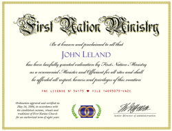Minister Ordination Certificate (Image)