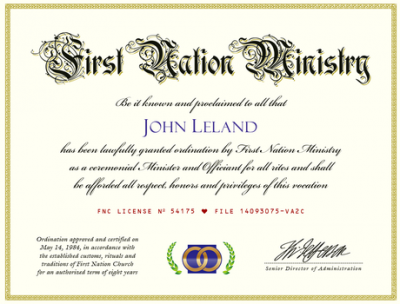 Minister Ordination Credential (Image)