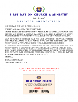 Minister Ordination Credential ID Card (Image)