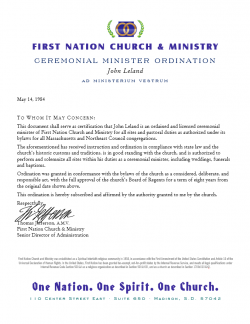 Minister Ordination Good Standing Letter (Image)